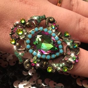 Michal Negrin multicolored crystal ring.